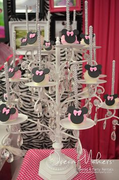 Adorable cake pops at a Zebra Minnie Mouse Birthday Party!   See more party ideas at CatchMyParty.com!  #partyideas #minniemouse