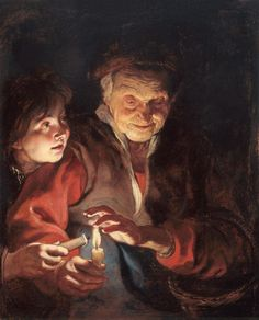 Rubens - Old Woman and  Boy with Candle (1616-1617) - While visiting Italy, Rubens had been impressed by Caravaggio's melodramatic light effects and he attempts the same here in this allegory of age / youth. The painting appears to have meant  a lot to him since he kept it in a private collection for the remainder of his life.