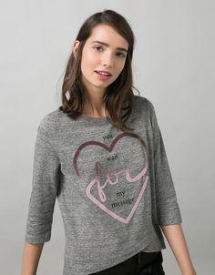 Maglietta BSK stampa cuore effetto caviale brillante - Magliette - Bershka Italy