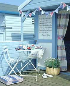 Beach hut she shed with quote painted on door Seaside Beach, Seaside Garden, Seaside Theme, Seaside Decor, Blue Beach, Coastal Decor, Beach Patio, Coastal Living, Beach Hut Shed