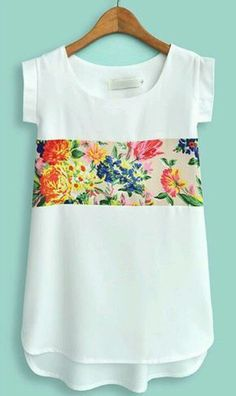 BNWT White Short Sleeve Contrast Floral Chiffon Blouse Size Small in Clothes, Shoes & Accessories, Women's Clothing, Tops & Shirts Diy Clothing, Sewing Clothes, Diy Vetement, Refashioning, Floral Chiffon, Floral Blouse, Mode Inspiration, Morning Inspiration, Mode Style