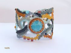 Sunset freeform beaded bracelet with larimar gem stone by DKHM