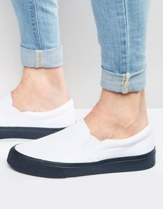 ASOS+Slip+On+Plimsolls+in+White+With+Navy+Sole