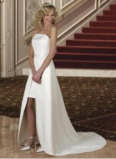 A-Line/Princess Strapless Detachable Satin Wedding Dress With Embroidered