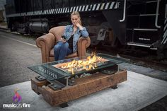 Amazon.com: Music City Fire The Trackside - Entertainment System: Garden  Outdoor Natural Gas Fire Pit, Gas Fire Pit Table, Urban Loft, Granite Stone, Gas Fires, Outdoor Fire, Entertainment System, At Least, Backyard