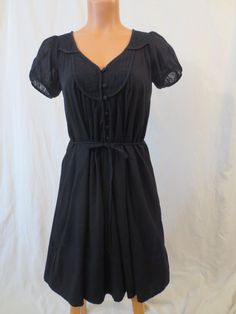 FRENCH CONNECTION black cotton smock dress - $29.99 at JOHNNY BOMBSHELL #FCUK #Aline #dollydress #shirtdress #goth #black #lbd #boho