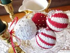 Hand knitted Christmas ornaments