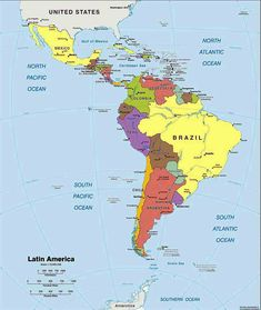 American Map Company Inc.Map Of Latin America Central America Cuba Costa Rica Dominican