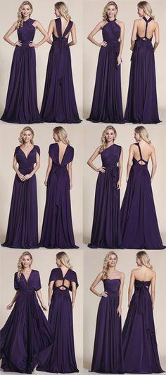 Convertible Elegant Purple Bridesmaid Dress