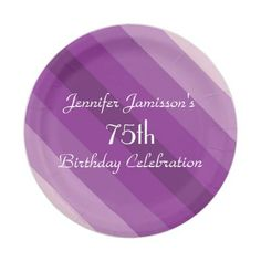 Purple Striped Paper Plates, 75th Birthday Party Paper Plate
