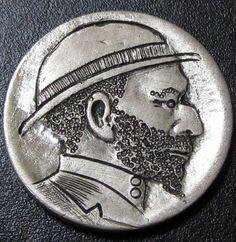 Detailed Hobo Buffalo Nickel Hand Carved Man in Derby with Beard T217 | eBay