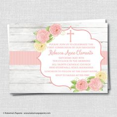 Rustic Floral First Communion Invitation - First Communion Celebration - Digital Design or Printed Invitations - FREE SHIPPING