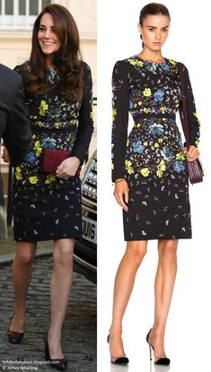 hrhduchesskate: Heads Together Briefing, Institute of Contemporary Arts, Carlton House Terrace, January 17, 2017-Duchess of Cambridge wore the Erdem 'Evita' dress in Black Lily Collage accessorized with her Tod's Fringed Leather Pumps, Mulberry clutch, and Oscar de la Renta Hammered Gold-Plated, Faux Pearl Earrings