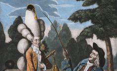 """A macaroni caricature from 1774 in the Yale University Library. A """"macaroni"""" was an 18th century hipster."""