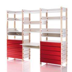 Magis - My Storage Shelving System Kids room - beech/storage white/drawer red/incl. 13 storage shelfs/incl. 10 drawer an desk