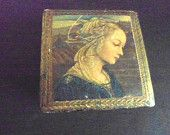 Small Vintage Jewelry Gilt Box with Hinges and Portrait Pretty Wooden Dresser Box Safe-keeper Box