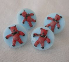 Set of 4 VINTAGE Small Painted Teddy Bear Blue Glass by abandc
