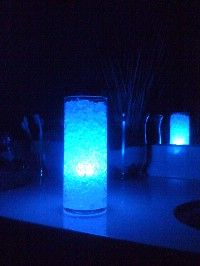 possible diy centerpiece lighting?  Centerpieces - Water gel crystals - TOBEWED09's Blue Wedding by Color Blog