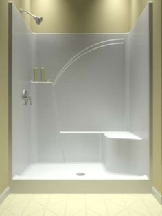 Melrose 5 1-Piece Acrylic Shower Stall with Seat, Left Plumbing ...