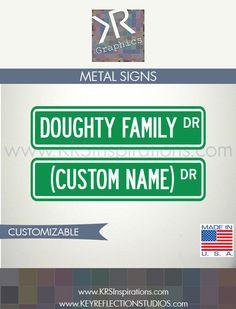 Custom Family Name Metal Hanging Street Sign $14.95 USD