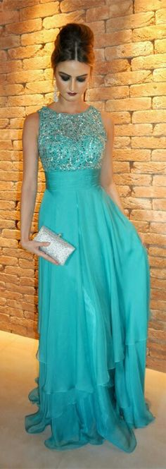 2016 New Fashions Sparkle Blue Prom Dresses With Beading Bodice Shiny Chiffon Prom Dress Modest Evening Gown For Teens