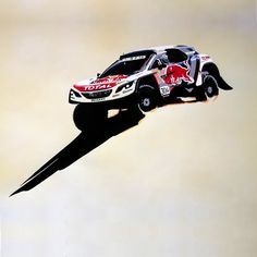 Acrylic paint on acrylic spray paint - Handmade - Peugeot 3008 DKR