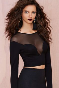 e81d0bafd27a3 Sexy Seamless Mesh Inlay Long Sleeved Black Cropped Top Cropped Top