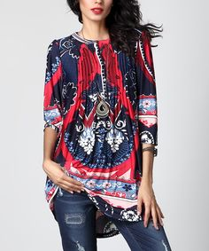 7b0d5502 Look at this Navy Paisley Notch Neck Pin Tuck Tunic by Reborn Collection