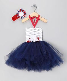 Easy to make....just a crochet headband, flower, ribbon, and tulle!  My girls will be fourth of July princesses:)