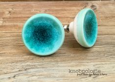 """SET OF 2 - 1 5/8"""" Crackled Turquoise Ceramic Knobs - Ocean Teal Blue - Caribbean Blue Cabinet Decor - Blue Drawer Pull Beach Inspired"""