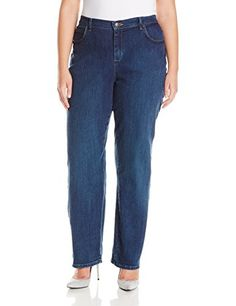 Lee Women's Plus-Size Relaxed Fit Straight Leg Jean, Authentic Nile, Medium Straight-leg jean featuring relaxed fit, embroidered back pockets, and flexible waistband for comfort Relaxed through hip and thigh Zippered fly and button closure Shoes With Jeans, Jeans Fit, Jeans Style, Sexy Jeans, Casual Jeans, All Fashion, Plus Size Fashion, Fashion Outfits, Womens Fashion