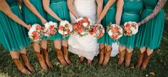 Fall wedding colors Teal and Orange Veronica Young Photography Missouri Wedding Photographer www.veronica-young.com