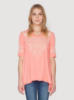 b4264719d8 Johnny Was Clothing JWLA embroidered jersey blend Mariko Trapeze Tee in  Candy Land Pink Geometric Embroidery