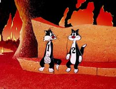 Sylvester takes a seat in Hell, beside one of his 9 lives, lol! Classic Cartoon Characters, Favorite Cartoon Character, Classic Cartoons, Looney Tunes Cartoons, Funny Cartoons, Sylvester The Cat, Foghorn Leghorn, Yosemite Sam, Merrie Melodies