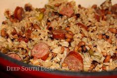 Deep South Dish: Black-eyed Pea Jambalaya - Deep South Hoppin' John--needs more liquid---leave out ham next time and add more kielbasa--time consuming but good Creole Recipes, Cajun Recipes, Pork Recipes, Cooking Recipes, Rice Recipes, Gumbo Recipes, Bean Recipes, Casserole Recipes, Salads