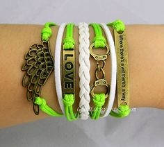"""'Angel wings,LOVE,Handcuffs and """" where there's a will there's a way """" bracelet-Verdant,green rope wax and white leather braided bracelet"""