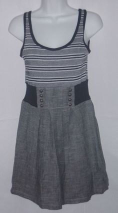 100% of this & many other Ebay items support @Ark of Hope for Children and their work with survivors of all #ChildAbuse Poetry Juniors Dress Size Medium Gray&Black Stripes Career #Poetry #EmpireWaist #WeartoWork