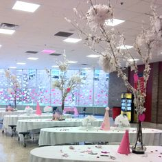 These centre pieces were made by using a tree branch, spraying adhesive on them and then placing them in a large bag with feathers. They fill a lot of space & are budget friendly! Love this idea. LHS used this for their Sweetheart dance decor! Farewell Decorations, Dance Decorations, Valentine Decorations, Daddy Daughter Dance, Party Time, Party Party, Party Ideas, Prom Decor, Candy Theme
