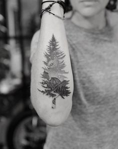 A landscape tree by Doctor Woo mountain tattoo 60 Gorgeous Girly Tattoos That'll Convince You to Get Inked Bff Tattoos, Girly Tattoos, Unique Tattoos, Beautiful Tattoos, Body Art Tattoos, Small Tattoos, Feminine Tattoos, Pretty Tattoos, Form Tattoo