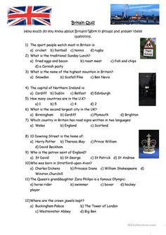 This is a quiz about Great Britain designed for both adults and teenagers coming to visit the UK. The questions are based on general cultural knowledge and would. Quiz With Answers, Quiz Questions And Answers, Cross Cultural Communication, Communication Skills, Culture Quiz, Rugby School, English Quiz, Intercultural Communication, Knowledge Quiz