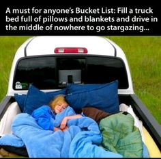 Fill a truck full of pillows and blankets and drive to the middle of nowhere to go stargazing. DONE in Stanley Idaho!