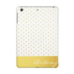 Gold polka dots and monogram - custom iPad mini case