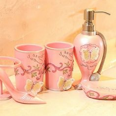 Adorable Pink Bathroom Accessories Set For Girl With Cute Butterfly Design