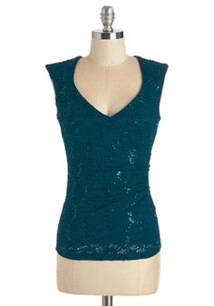 Féte to Print Top. Lights, camera, action - youre ready for your close-up the moment you slip into this lacy teal top! #blue #modcloth