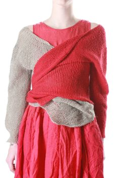 Daniela Gregis. LOVE! two sweaters with one sleeve layered!