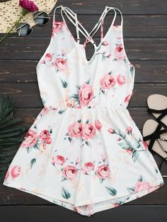 SHARE & Get it FREE | Criss Cross Cami Floral Romper - WhiteFor Fashion Lovers only:80,000+ Items • New Arrivals Daily Join Zaful: Get YOUR $50 NOW!