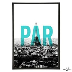 Art & Hue Paris Print: A cityscape of Paris with Aqua PAR. Unframed art giclée print, printed on 310gsm fine art archival matte paper, made from 100% cotton, using pigment inks which last several lifetimes.