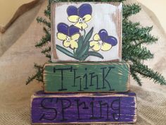 Primitive Country Pansy Flowers Think Spring Easter Shelf Sitter Wood Block Set #PrimtiveCountry