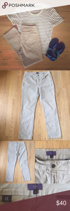 "NYDJ ""Samantha"" buff color jeans slim fit size 8 Good used condition. Hemmed to fit - inseam 28"". Leg opening 14"". Color = buff. ""Not Your Daughters Jeans"" brand. Slim fit. Smoke and pet free home. ""slimming Lift Tuck® Technology works from within to make you look and feel a size smaller. Every style features a patented criss-cross panel design inside to trim the tummy and curve-contouring construction where you want it most."" NYJD Jeans Straight Leg"