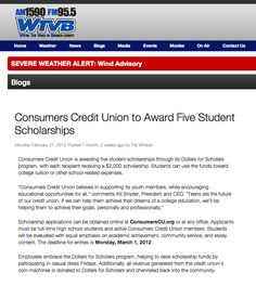 Consumers Credit Union to Award Five Student Scholarships